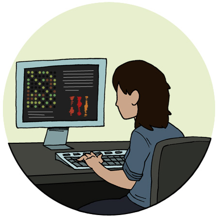 researcher at computer